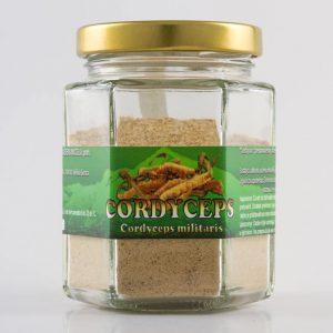 Izgled proizvoda Cordyceps (ljekovitih gljiva) od 100 grama u staklenci.