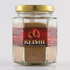 Izgled proizvoda Reishi (ljekovitih gljiva) od 100 grama u staklenci.