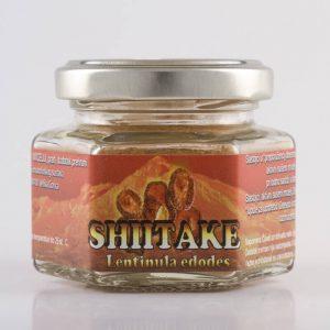 Izgled proizvoda Shiitake (ljekovitih gljiva) od 50 grama u staklenci.